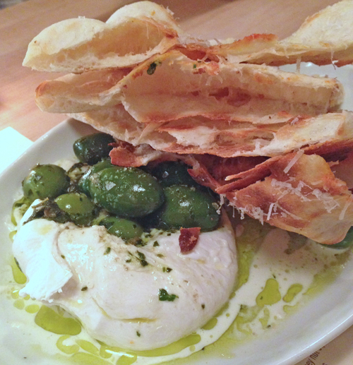 Indaco's burrata with olives